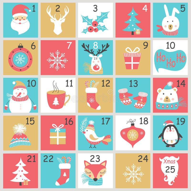 Ημερολόγιο εμφάνισης Χριστουγέννων με συρμένα τα χέρι στοιχεία Αφίσα Χριστουγέννων ελεύθερη απεικόνιση δικαιώματος