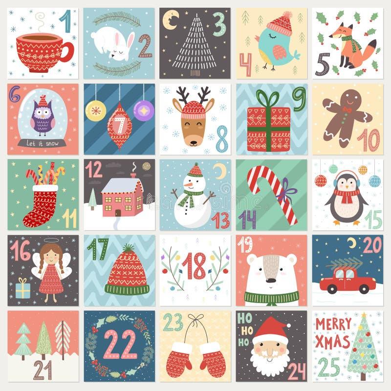 Ημερολόγιο εμφάνισης Χριστουγέννων απεικόνιση αποθεμάτων