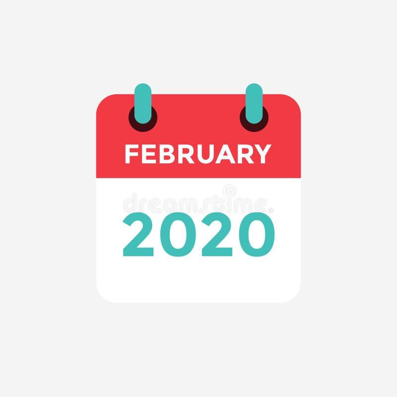 Ημερολόγιο επίπεδων εικονιδίων Φεβρουάριος 2020 διανυσματική απεικόνιση