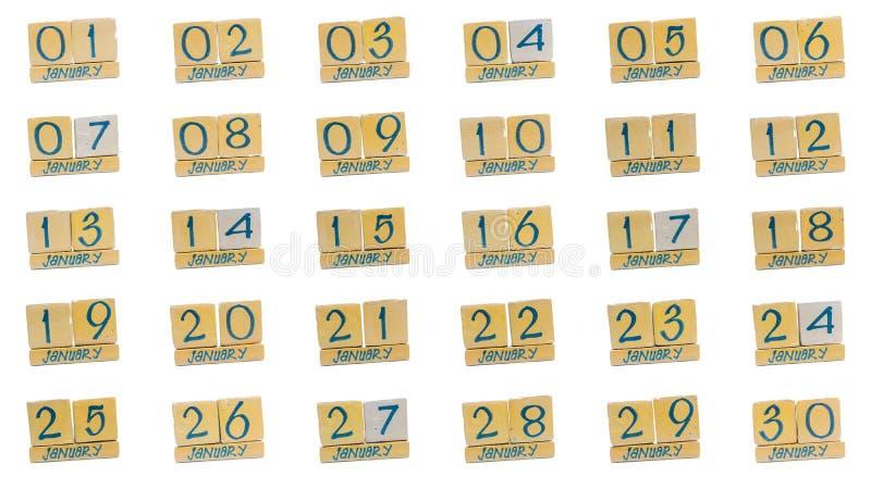 ημερολόγιο Ιανουάριος πλήρης μήνας μέρα με τη μέρα όλες οι ημερομηνίες του μήνα στη διαταγή Χειροποίητο ξύλινο ημερολόγιο κύβων στοκ φωτογραφίες με δικαίωμα ελεύθερης χρήσης