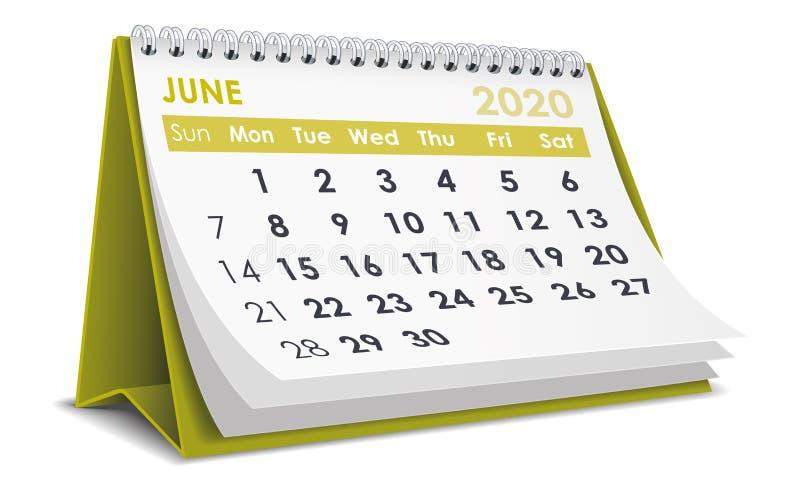 Ημερολόγιο Ιουνίου 2020 απεικόνιση αποθεμάτων