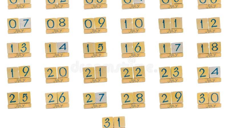 ημερολόγιο Ιούλιος πλήρης μήνας μέρα με τη μέρα όλες οι ημερομηνίες του μήνα στη διαταγή Χειροποίητο ξύλινο ημερολόγιο κύβων στοκ φωτογραφία με δικαίωμα ελεύθερης χρήσης
