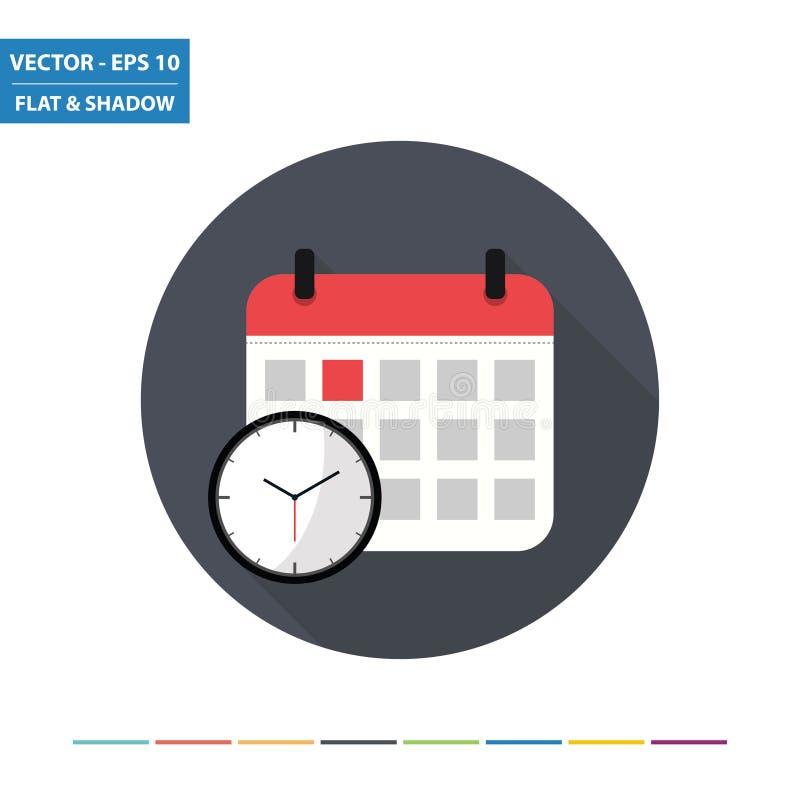 Ημερολόγιο και ρολόι - χρονικό επίπεδο εικονίδιο με τη μακριά σκιά διανυσματική απεικόνιση