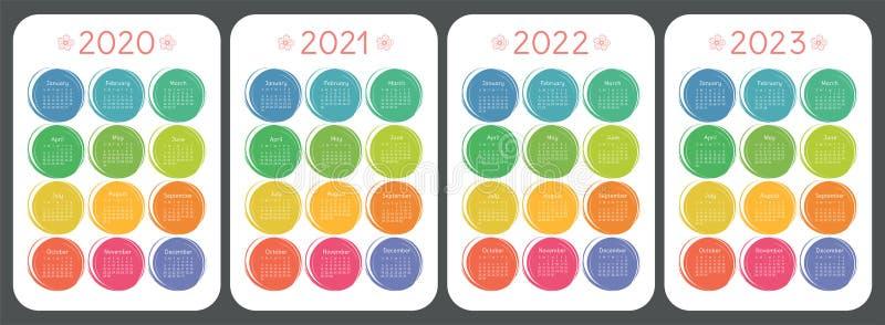 Ημερολόγιο 2020, 2021, 2022 και 2023 Ύφος σκίτσων του ζωηρόχρωμου παιδιού doodle Χρώμα γύρω από συρμένα τα χέρι πλαίσια Αγγλικό δ απεικόνιση αποθεμάτων