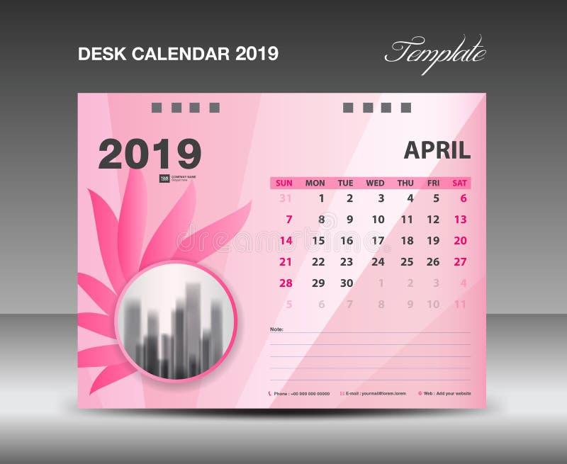 Ημερολόγιο 2019, μήνας ΑΠΡΙΛΙΟΥ, διανυσματικό σχέδιο ημερολογιακών προτύπων γραφείων, ρόδινη έννοια λουλουδιών διανυσματική απεικόνιση