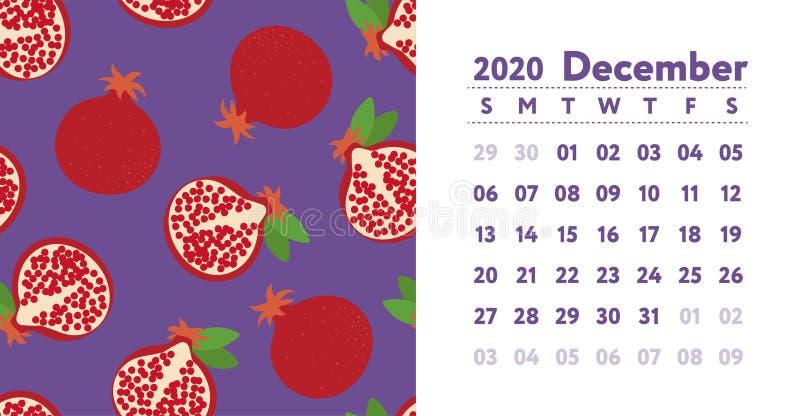 Ημερολόγιο 2020 Μήνας Δεκεμβρίου Διανυσματικό αγγλικό ημερολόγιο τοίχων Γρανάτης Άνευ ραφής σχέδιο ροδιών Συρμένο χέρι σκίτσο φρο διανυσματική απεικόνιση