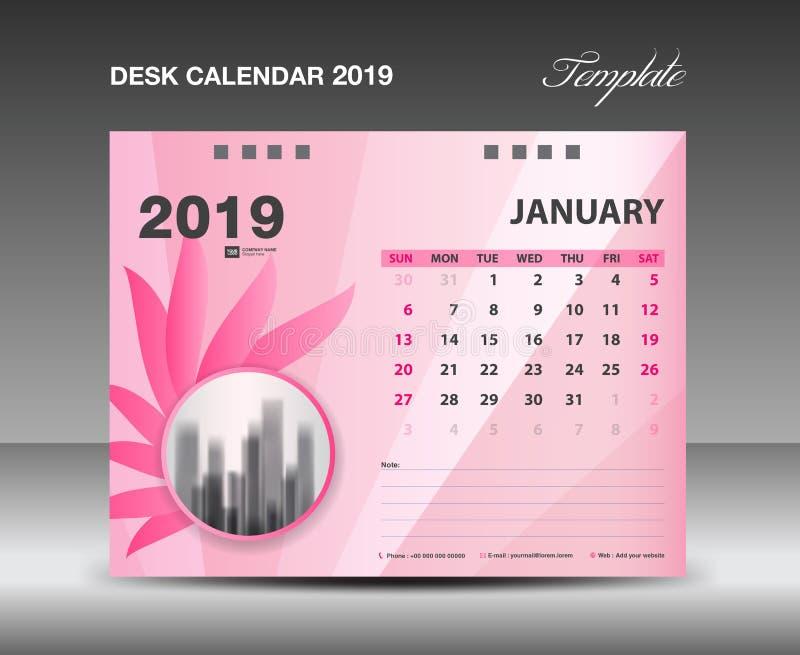 Ημερολόγιο 2019, μήνας Ιανουαρίου, διανυσματικό σχέδιο ημερολογιακών προτύπων γραφείων, ρόδινη έννοια λουλουδιών απεικόνιση αποθεμάτων