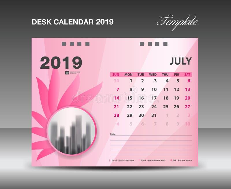 Ημερολόγιο 2019, μήνας ΙΟΥΛΙΟΥ, διανυσματικό σχέδιο ημερολογιακών προτύπων γραφείων, ρόδινη έννοια λουλουδιών διανυσματική απεικόνιση