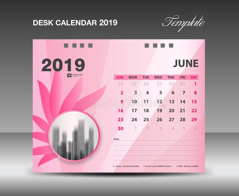 Ημερολόγιο 2019, μήνας ΙΟΥΝΙΟΥ, διανυσματικό σχέδιο ημερολογιακών προτύπων γραφείων, ρόδινη έννοια λουλουδιών ελεύθερη απεικόνιση δικαιώματος