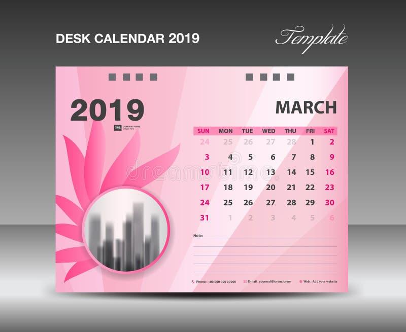 Ημερολόγιο 2019, μήνας ΜΑΡΤΙΟΥ, διανυσματικό σχέδιο ημερολογιακών προτύπων γραφείων, ρόδινη έννοια λουλουδιών απεικόνιση αποθεμάτων