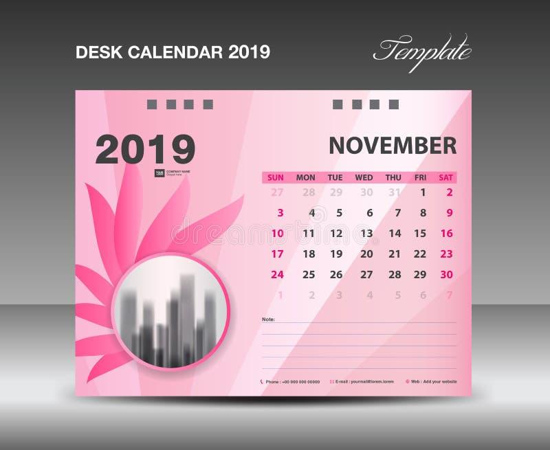 Ημερολόγιο 2019, μήνας ΝΟΕΜΒΡΙΟΥ, διανυσματικό σχέδιο ημερολογιακών προτύπων γραφείων, ρόδινη έννοια λουλουδιών ελεύθερη απεικόνιση δικαιώματος