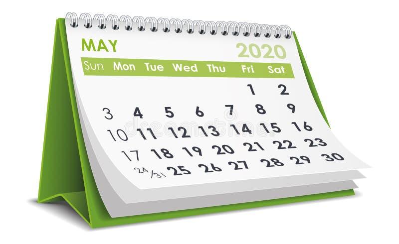 Ημερολόγιο Μαΐου 2020 απεικόνιση αποθεμάτων
