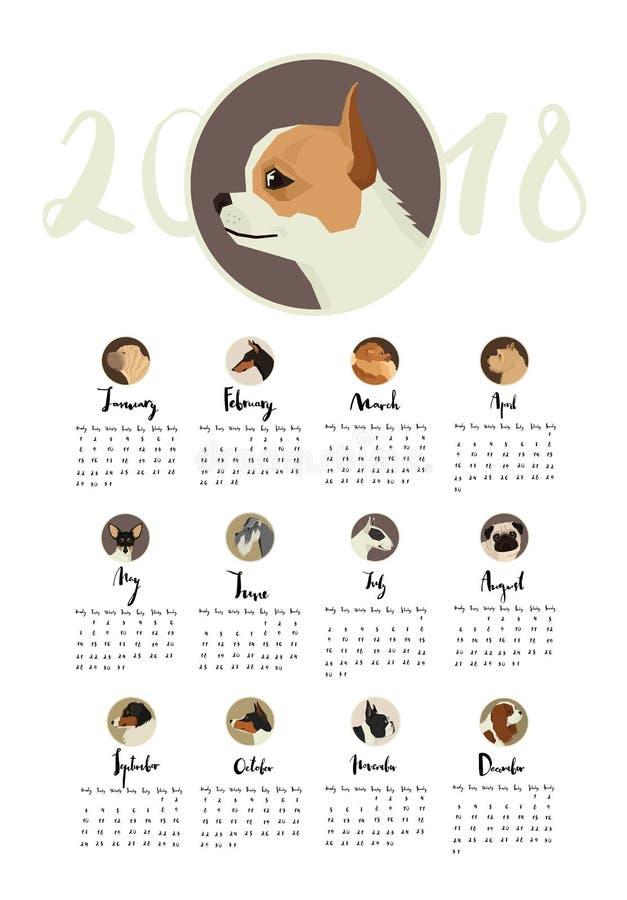 Ημερολόγιο με τα πορτρέτα των σκυλιών στα στρογγυλά πλαίσια απεικόνιση αποθεμάτων