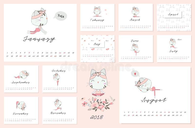 2018 ημερολόγιο με τη γάτα και τη θέση γιόγκας στοκ φωτογραφίες