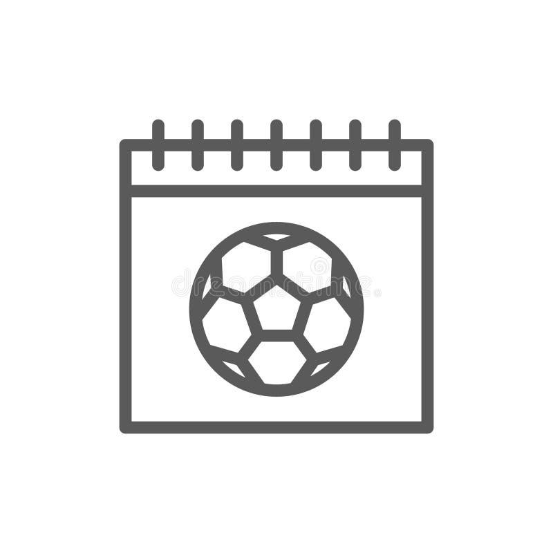 Ημερολόγιο με τη σφαίρα ποδοσφαίρου, ημέρα του εικονιδίου γραμμών παιχνιδιού διανυσματική απεικόνιση