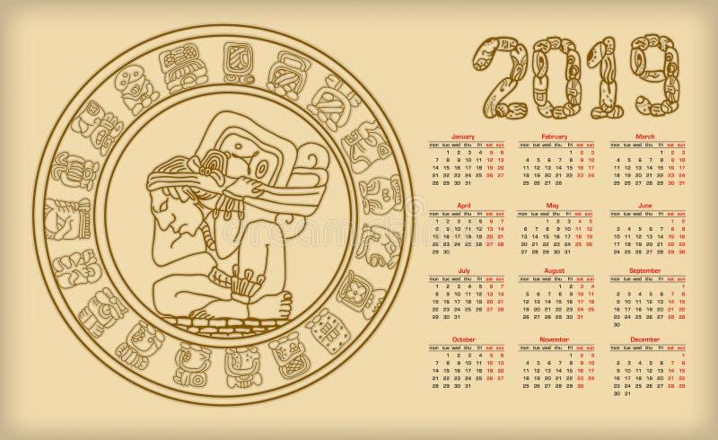 Ημερολόγιο 2019 με maya το symbolics διανυσματική απεικόνιση