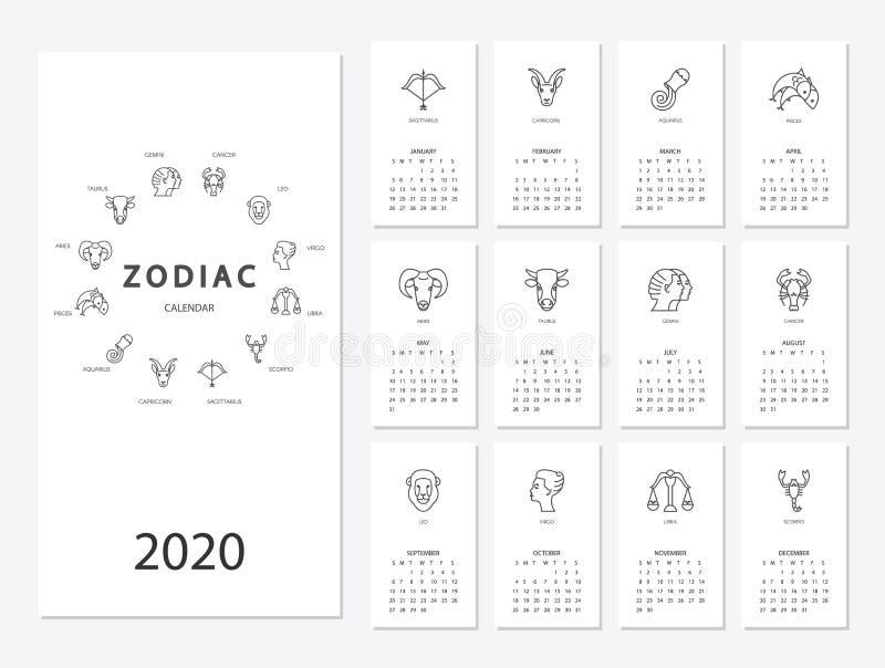 Ημερολόγιο 2020 με zodiac σημαδιών ωροσκοπίων τα σύμβολα καθορισμένα ελεύθερη απεικόνιση δικαιώματος