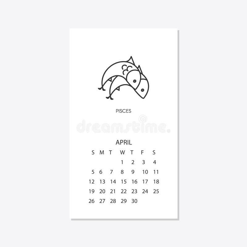 Ημερολόγιο 2020 με zodiac σημαδιών ωροσκοπίων τα σύμβολα καθορισμένα απεικόνιση αποθεμάτων