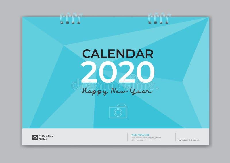 Ημερολόγιο 2020, μπλε υπόβαθρο, ιπτάμενο επιχειρησιακών φυλλάδιων, μέσο εκτύπωσης, διαφήμιση, απλό πρότυπο γραφείων κάλυψης σχεδί απεικόνιση αποθεμάτων