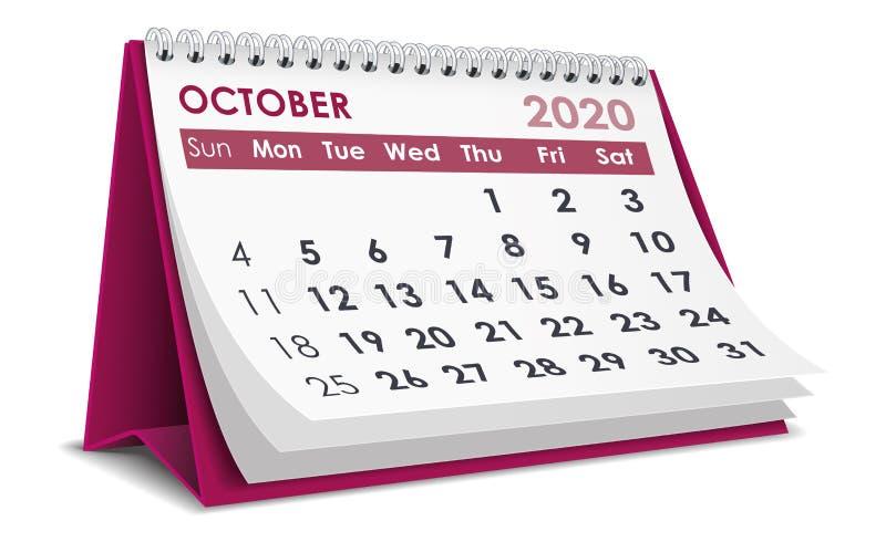 Ημερολόγιο Οκτωβρίου 2020 ελεύθερη απεικόνιση δικαιώματος