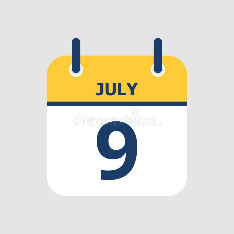 Ημερολόγιο 9ο του Ιουλίου ελεύθερη απεικόνιση δικαιώματος
