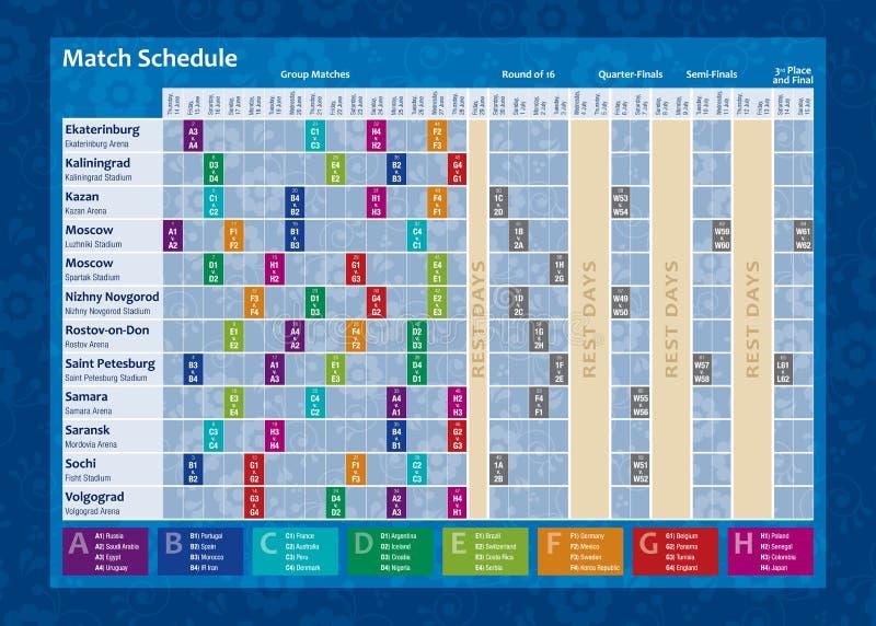 Ημερολόγιο Παγκόσμιου Κυπέλλου της Ρωσίας 2018 Πλήρες chronogram με την ημερομηνία κάθε αγώνα ποδοσφαίρου και το όνομα της πόλης  διανυσματική απεικόνιση