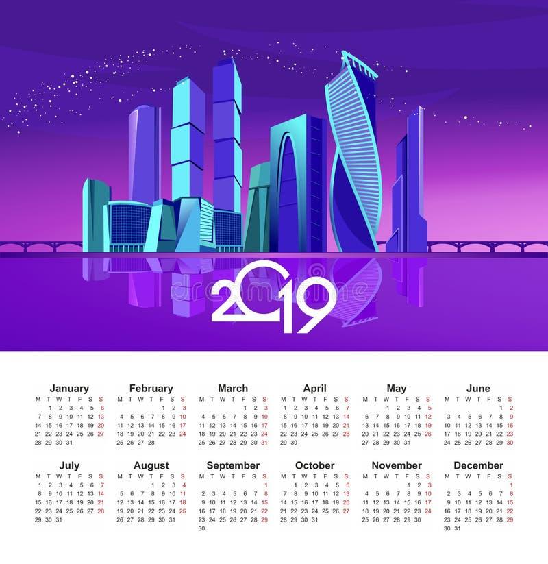 2019 ημερολόγιο πόλεων της Μόσχας ελεύθερη απεικόνιση δικαιώματος
