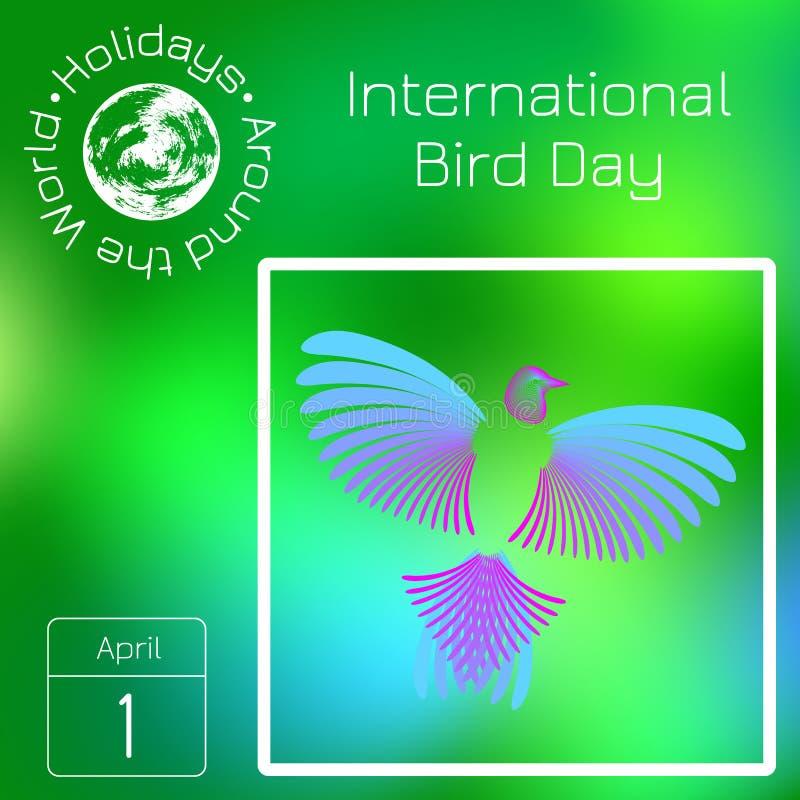 Ημερολόγιο σειράς Διακοπές σε όλο τον κόσμο Γεγονός κάθε μέρα του έτους Διεθνής ημέρα πουλιών Πουλί ουράνιων τόξων διανυσματική απεικόνιση