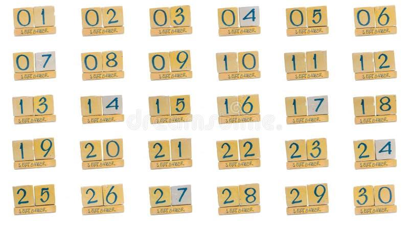 ημερολόγιο Σεπτέμβριος πλήρης μήνας μέρα με τη μέρα όλες οι ημερομηνίες του μήνα στη διαταγή Χειροποίητο ξύλινο ημερολόγιο κύβων στοκ εικόνες με δικαίωμα ελεύθερης χρήσης