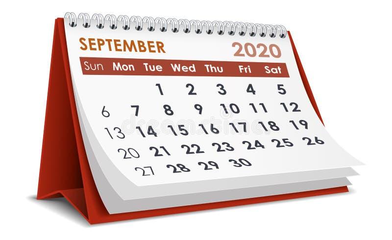 Ημερολόγιο Σεπτεμβρίου 2020 διανυσματική απεικόνιση