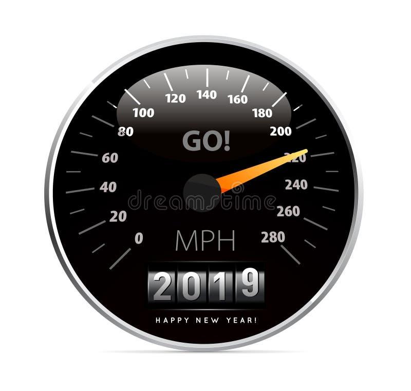 Ημερολόγιο 2019 στη διανυσματική απεικόνιση αυτοκινήτων ταχυμέτρων στο λευκό απεικόνιση αποθεμάτων
