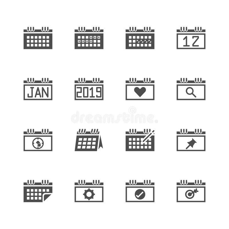 Ημερολόγιο σχετικό στο σύνολο εικονιδίων glyph r διανυσματική απεικόνιση