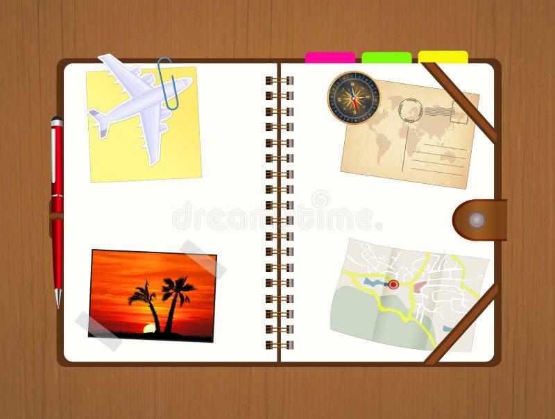 Ημερολόγιο ταξιδιού με τις μνήμες και τους χάρτες απεικόνιση αποθεμάτων