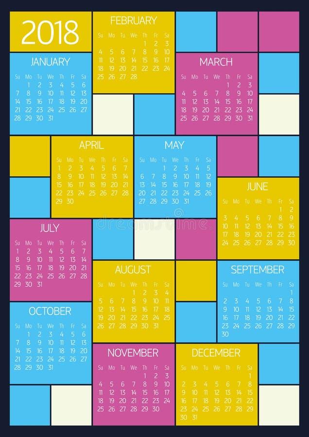 Ημερολόγιο τοίχων 2018 - ύφος μετρό ελεύθερη απεικόνιση δικαιώματος