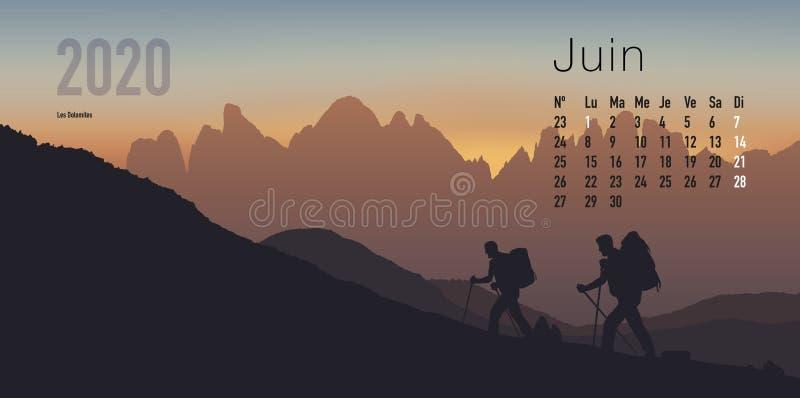 ημερολόγιο του 2020 έτοιμο να τυπώσει στη γαλλική εκδοχή, που παρουσιάζει sunsets στα τοπία βουνών ελεύθερη απεικόνιση δικαιώματος