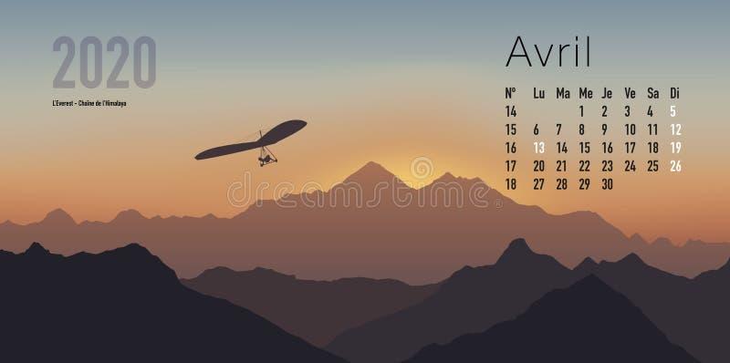 ημερολόγιο του 2020 έτοιμο να τυπώσει στη γαλλική εκδοχή, που παρουσιάζει sunsets στα τοπία βουνών διανυσματική απεικόνιση