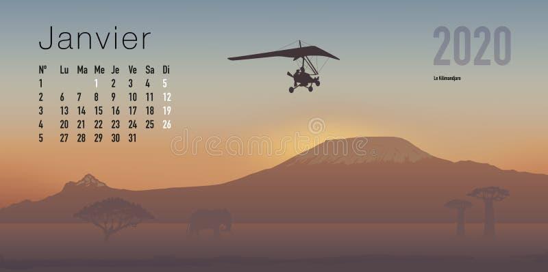 ημερολόγιο του 2020 έτοιμο να τυπώσει στη γαλλική εκδοχή, που παρουσιάζει sunsets στα τοπία βουνών απεικόνιση αποθεμάτων