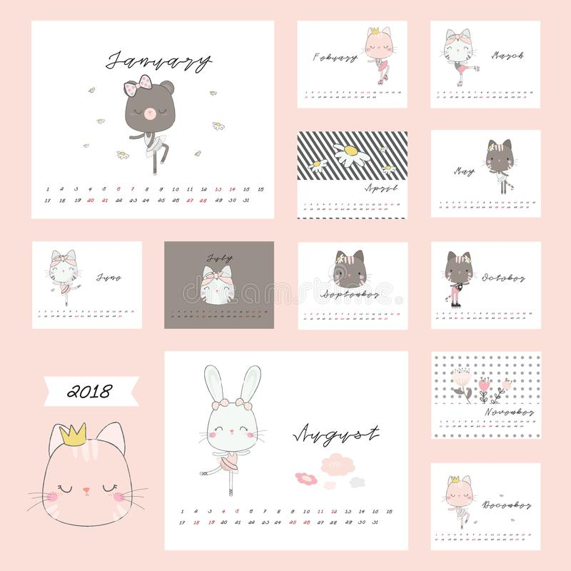 ημερολόγιο του 2018 με τα χαριτωμένα ζώα στοκ φωτογραφία