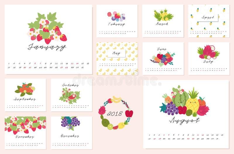 ημερολόγιο του 2018 με τα χαριτωμένα φρούτα στοκ φωτογραφία με δικαίωμα ελεύθερης χρήσης