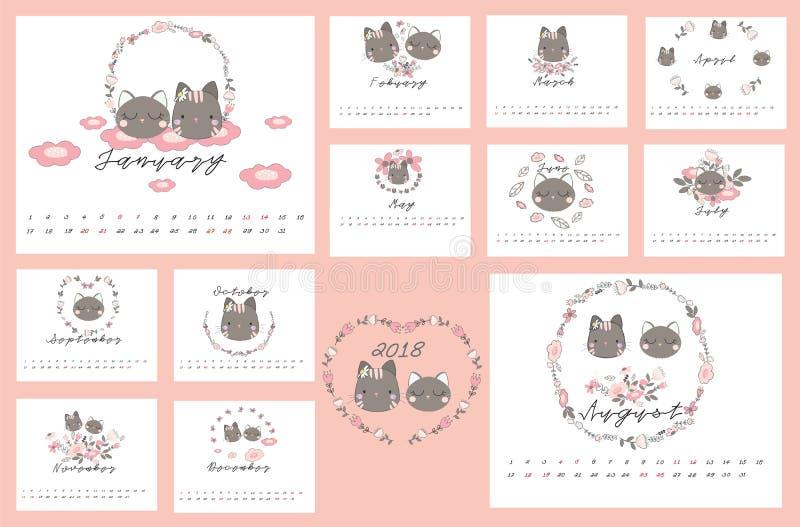 ημερολόγιο του 2018 με τη γάτα και Floral στοκ εικόνες