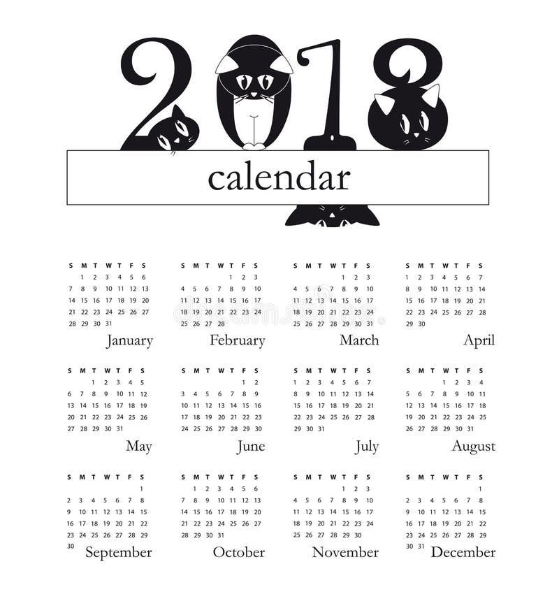 ημερολόγιο του 2018 με τις αστείες γάτες ως ψηφία - ενάρξεις εβδομάδας την Κυριακή διανυσματική απεικόνιση