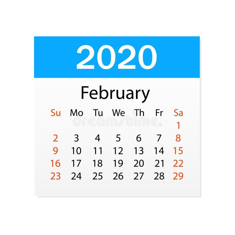 Ημερολόγιο του Φεβρουαρίου του 2020 Προσωπικός διοργανωτής Tear-off ημερολόγιο E r διανυσματική απεικόνιση