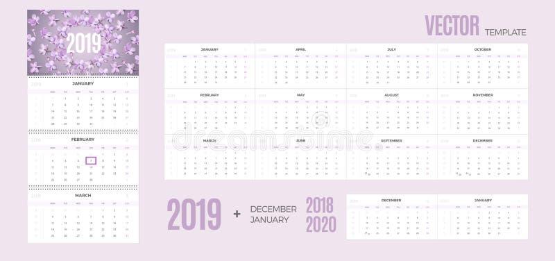 ημερολόγιο του 2019  διανυσματική απεικόνιση