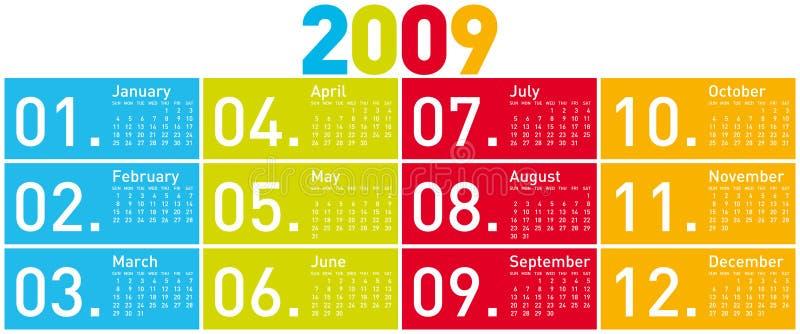 ημερολόγιο του 2009 ζωηρόχρ&om διανυσματική απεικόνιση