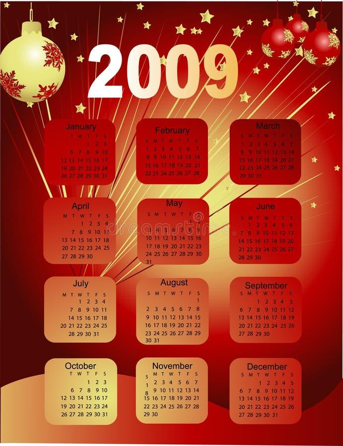 ημερολόγιο του 2009 διανυσματική απεικόνιση