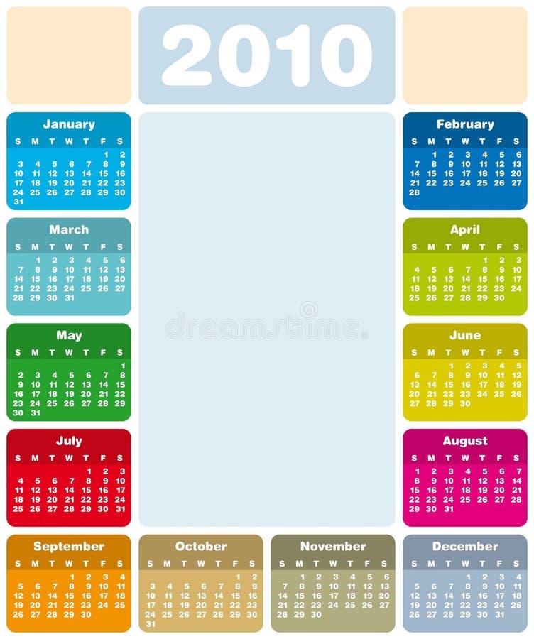 ημερολόγιο του 2010 ζωηρόχρ&om ελεύθερη απεικόνιση δικαιώματος