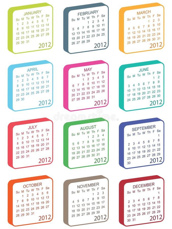 ημερολόγιο του 2012 διανυσματική απεικόνιση
