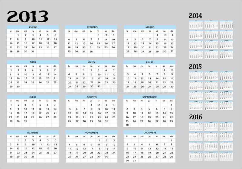 ημερολόγιο του 2016 του 2013 ελεύθερη απεικόνιση δικαιώματος
