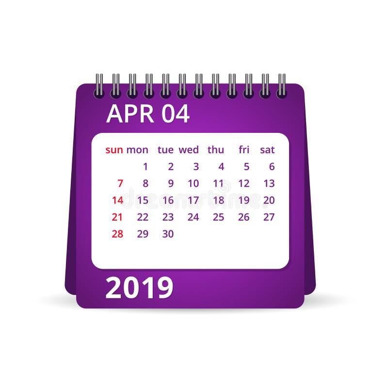 ημερολόγιο του 2019 apse επίσης corel σύρετε το διάνυσμα απεικόνισης διανυσματική απεικόνιση