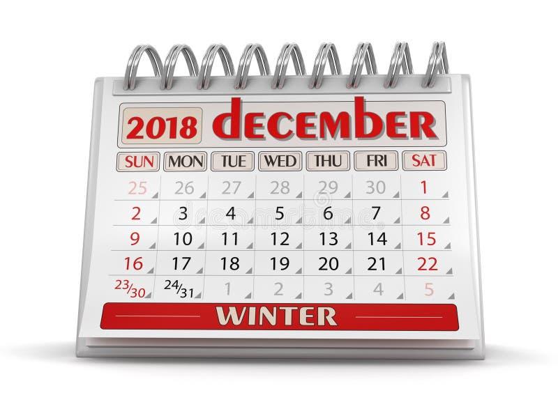 Ημερολόγιο - το Δεκέμβριο του 2018 διανυσματική απεικόνιση